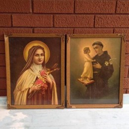 2X Vintage Religious Iconography Mary Ornate Framed Prints Icons
