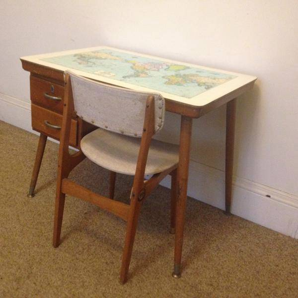 Vintage Retro School Desk Table World MAP Laminex CRO C R O AND