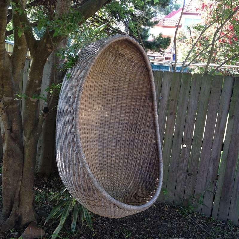 Retro Cane Wicker Hanging Chair Egg Pod Outdoor Garden Tree Christo S Collectables
