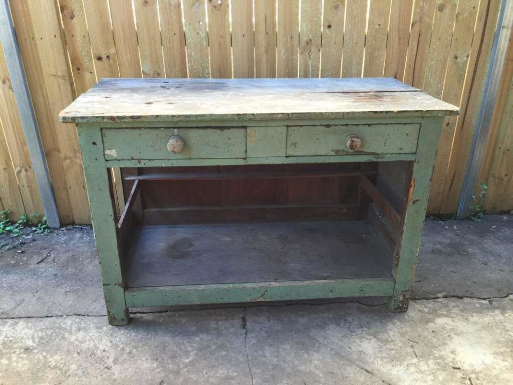Vintage Retro Industrial Rustic Wooden Timber Kitchen Bench Cabinet Side Table