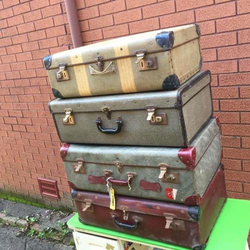 4x Set Bulk Vintage Retro Stack Suitcases Multicoloured Travel Decor Storage