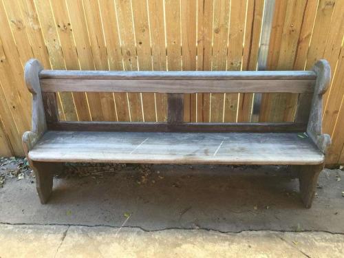 Vintage Rustic Industrial Wooden Timber Bench Pew Garden Deck